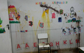 Vândalos invadem CEMEI Creche, sujam paredes e furtam alimentos