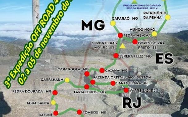 Inscrições abertas para a 3ª Expedição OFF ROAD da Rota dos Alambiques das Cachaças no Caminho das 3 Fronteiras do Pico da Bandeira MG/ES/RJ