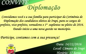 Candidatos eleitos de Irupi serão diplomados nesta quarta-feira (14)