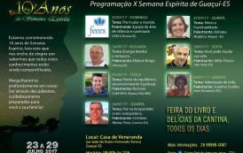 Semana espírita em Guaçuí-ES já está em andamento. Compareça