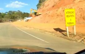 Atenção motoristas: Obras com desvio perigoso no KM 20 da BR 482-Serra do Papagaio, trecho Carangola x Espera Feliz-MG